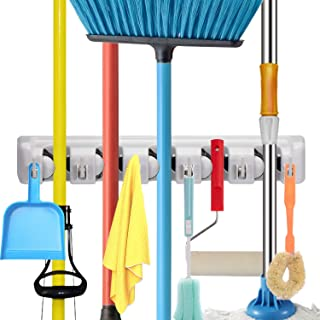Champs Mop Broom Holder, Wall Mounted Commercial Organizer Storage Rack for Garden Tools, Kitchen, Garage and Laundry [5 S...