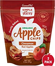 Gourmet Nut Simple Slices Organic Baked Red Apple Chips & Cinnamon, USA Grown Apples, No Added Sugar - 3.5 Oz - 3 Pack