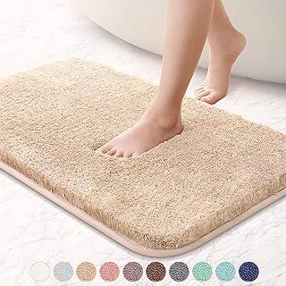 VANZAVANZU Bathroom Rugs 20x32 Ultra Soft Absorbent Non Slip Fluffy Thick Microfiber Cozy Bath Mat for Tub Shower Bathroom Floors Accessories (Beige)