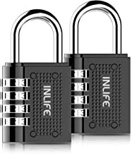 2 Pack Combination Padlock INLIFE 4 Digit Padlock for School Gym Locker, Sports Locker, Fence, Toolbox,Case, Hasp Storage (Black)