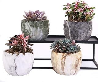 وینمن مجموعه ای از 4 مدرن سبک مرمر گل سرامیکی گلدان Succulent کاکتوس بونسای کاشت گلدان کانتینر (کانتینر مرمر)