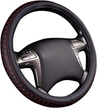 NEW ARRIVAL- HORSE KINGDOM Genuine Leather Universal Steering Wheel Cover Breathable Fit Car Truck SUV Air-mesh Non-slip Line (black with red)