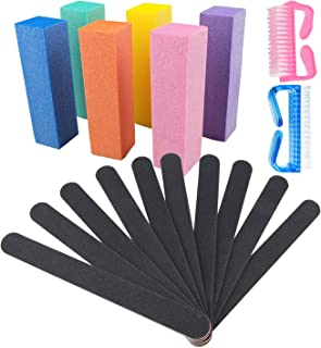 Nail Files and Buffers Kit, Professional Manicure Tools Kit for Salon Nail Art, Colorful 4 Sides 120 Grit Nail Buffer Bloc...