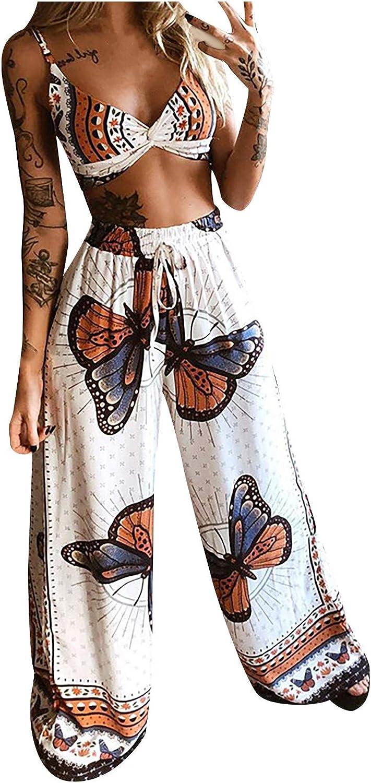 Women Butterfly Two Piece Pant Suit Pleated Halter Racerback Wide Leg Trousers Drawstring Strap Long Pants Suit
