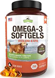 Omega 3 Fish Oil for Dogs, 250 Softgel Pills, 1000 mg EPA DHA Dog Fish Oil Pet Supplement for Joint Support Arthritis Pain...