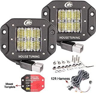 House Tuning 2x 30W Flush Mount LED Pods Light with Wiring Harness 12V Flood LED Fog Lights Flush Mount for Jeep Trucks bumper mount (Pack of 2)