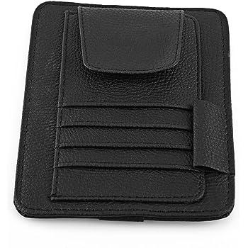 Visor Card Holder for Car Orange Automotive Car Sun Organizer Card Storage Glass Credit Money Holder Sunglasses Clip Multi-function Glasses Pouch Bag Hanging PU Leather