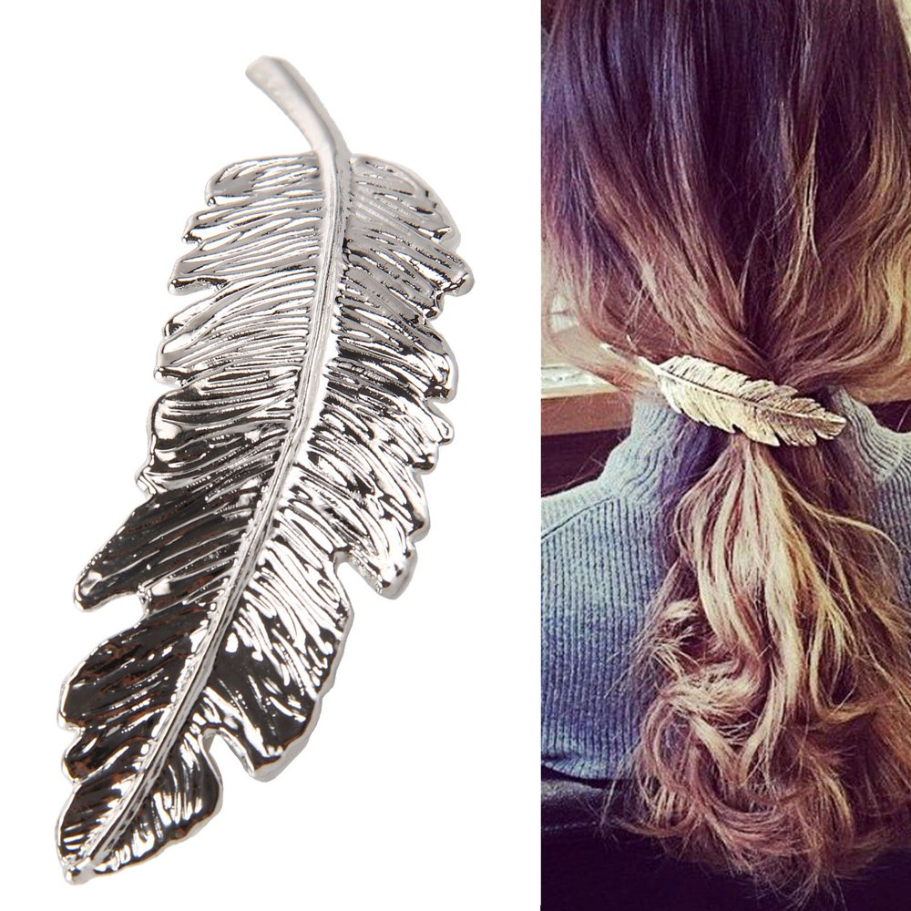 Details about  /Fashion Women Barrette Leaf Feather Hair Clip Hairpin Bobby Pin Hair Accessories