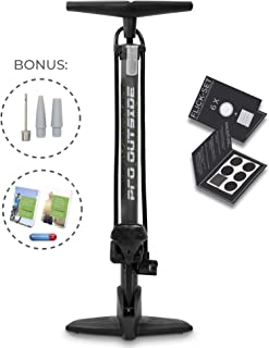 Pro Outside Premium – Bomba de bicicleta de hasta 11 bar para todas las válvulas, juego de parches y accesorios, bomba de pie