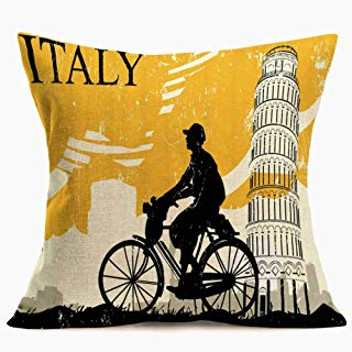 Smilyard Vintage Italy Leaning Tower f Pisa Throw Pillow Covers Cotton Linen Yellow Background Decorative Throw Pillow Case Cushion Cover for Home Sofa Couch Chair 18x18 Inch(Italy 02)