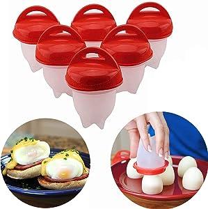 LANJILIFE Egg Cooker - Hard Boiled Eggs without the Shell, 6PCS/Set Egg Poachers Cooker Silicone Non-stick Egg Boiler Cookers,Silicone Boiled Steamer Eggies, BPA Free