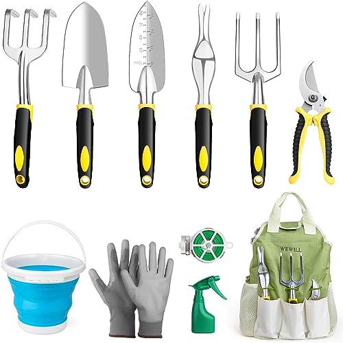 WEWILL Ensemble Outils Jardinage Outils de Jardin Kit Poignées Ergonomiques, Outils de Jardinage avec Boîte à Outils ...