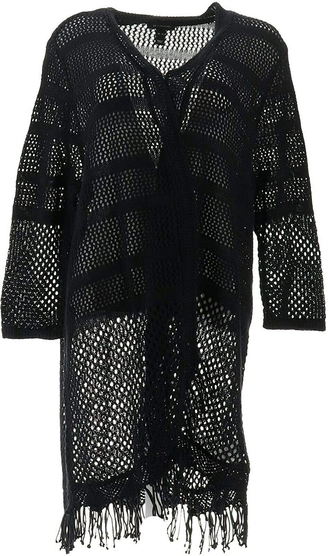 Halston Draped Textured Knit Cardigan Tassel Hem A353774
