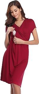 Hawiton Camisón Lactancia Pijama Embarazada Algodón Ropa para Dormir Premamá Manga Corta Hospital Verano