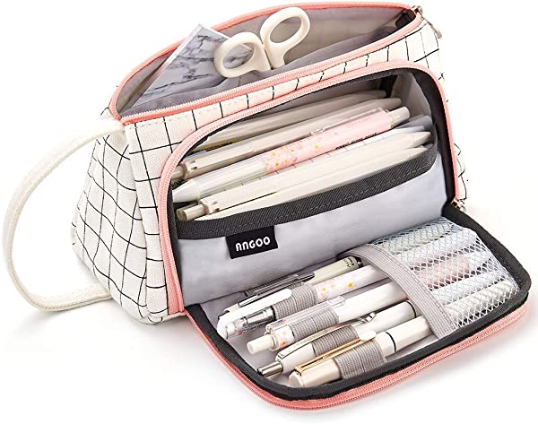 Aineeba Big Capacity Pencil Pen Case Bag Pouch Holder Office College Adult Large Storage White