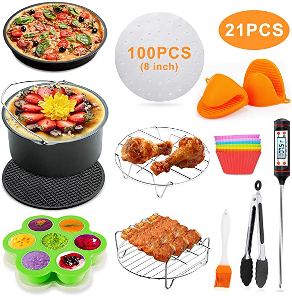 KINFAYV Air Fryer Accessories 21 PCS Deep Fryer Accessories 8 Inch Fit 3 7 4 2 5 3 5 5 5 8Qt Air Fryers FDA Approved BPA Free Compatible For Gowise Phillips Cozyna COSORI More