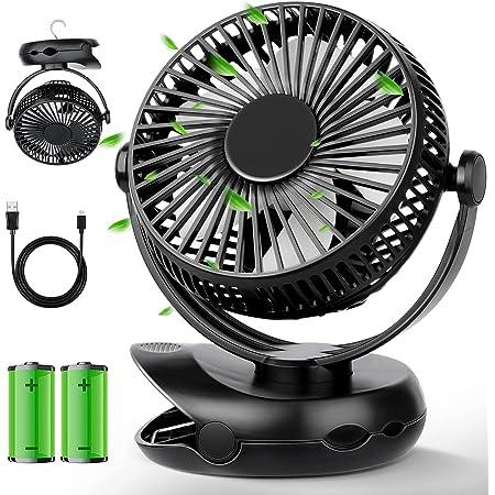 扇風機 充電式 USB 卓上扇風機 クリップ式 10000mAh 40h連続使用 ファン 小型 ミニ扇風機 超静音 強力 大風量 風速4段階調節 上下左右360度角度調整 LED照明機能付き 便利 コンパクト 電池内蔵 コードレス せんぷうき 宅内/アウトドア/釣り/オフィス/車内/洗面所/トイレ