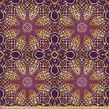 ABAKUHAUS lila Mandala Microfaser Stoff als Meterware, Boho