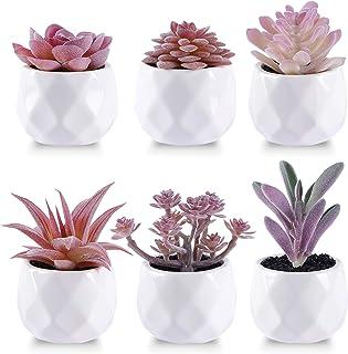CEWOR 6 Packs Artificial Succulents Mini Ceramic Potted Faux Plants for Home Bathroom Office Desk Table Decoration