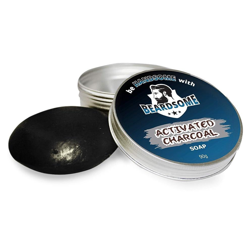 ストレスの多い給料血色の良いBEARDSOME Activated Charcoal Soap For Men 90g