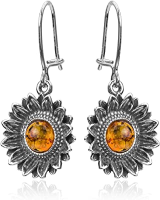 Orecchini in argento Sterling con girasole e ambra miele