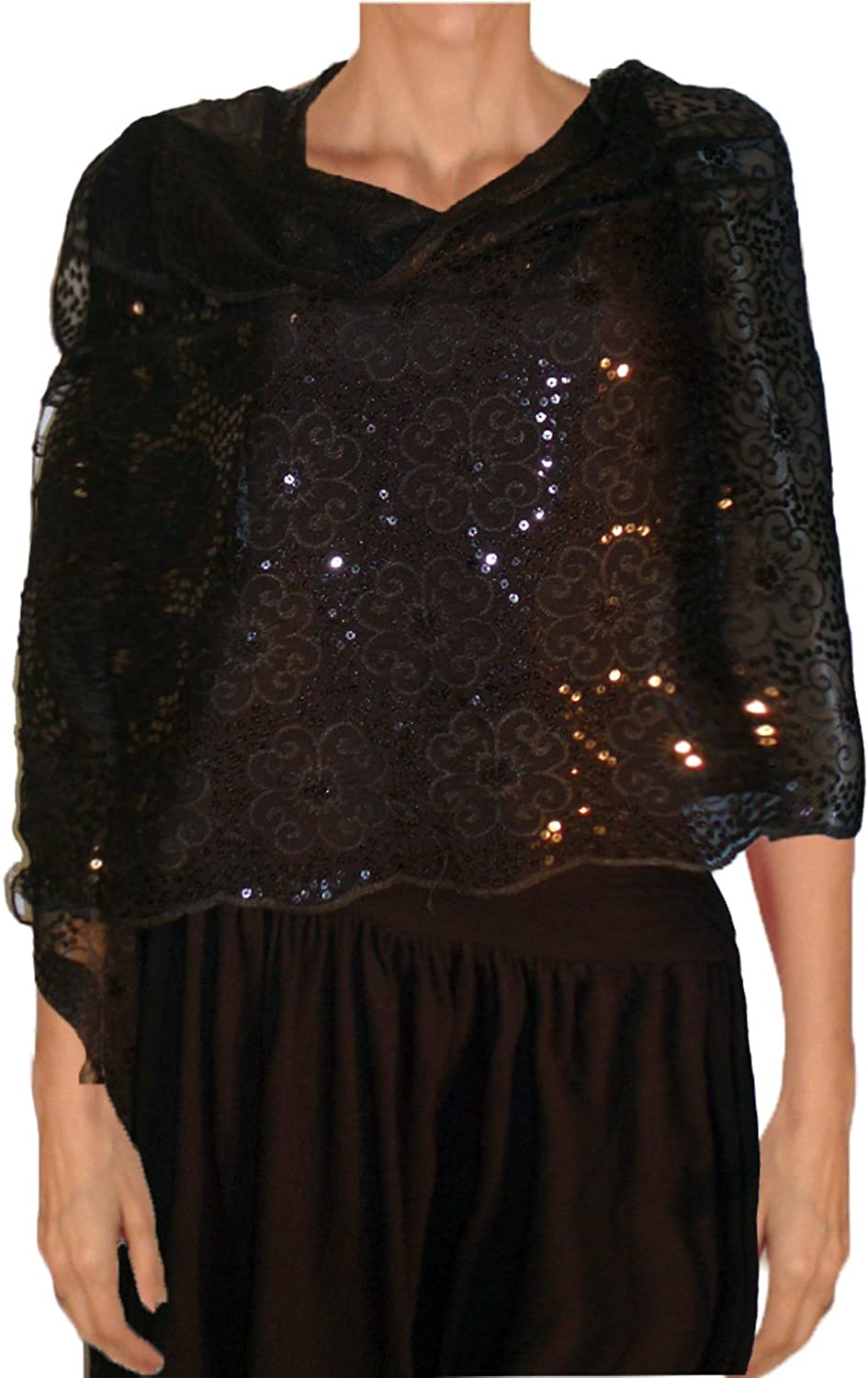 Sequined Embroidered Scarf   Shawl Wrap