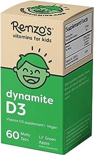 Renzo`s Dynamite D3, Dissolvable Vegan Vitamins for Kids, Zero Sugar, Lil` Green Apple Flavor, 60 Melty Tabs