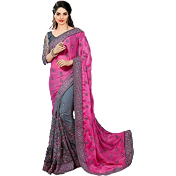 Nivah Fashion women's Satin & Net Half N Half Embroidery work Sari With Blouse piece K608