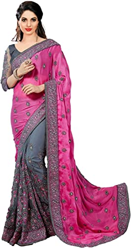 Nivah Fashion Women's Satin Embroidery Mirror Work Saree With Blouse Piece