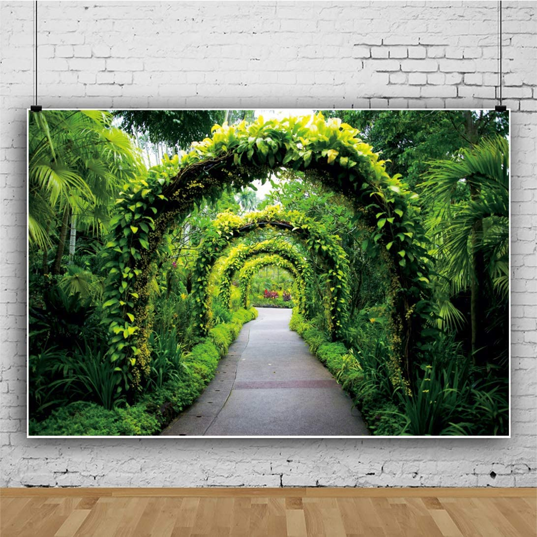 OERJU 8x6ft Romantic Wedding Backdrop Green Arch Vines Background for Photoshoot Bridal Shower Party Decorations Valentines Day Anniversary Table Banners Newborn Baby Shower Video Making Props