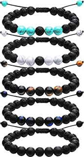 5 Pieces Adjustable Lava Rock Stone Essential Oil Diffuser Bracelet Stone Yoga Beads Bracelets Braided Rope for Men Women