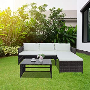 3 Sets of Rattan for Outdoor terraces, Wicker Rattan Furniture for Garden Conversation, L-Shaped Corner Sofa Modular Sofa Lounge Chair with Cushions.