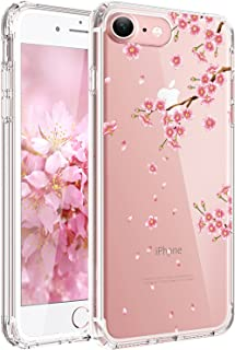 JAHOLAN Cute Girl Floral Design Clear TPU Soft Slim Flexible Silicone Cover Phone Case Compatible with iPhone 7 iPhone 8 - Pink Peach Blossom