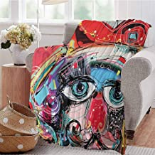 KFUTMD Lightweight Blanket Grafitti Like Sketchy Style Colorful Painting with Human Like Face Dog Animal Image Multi Colored Bed Sleeping Travel Pets Reading W60 xL80