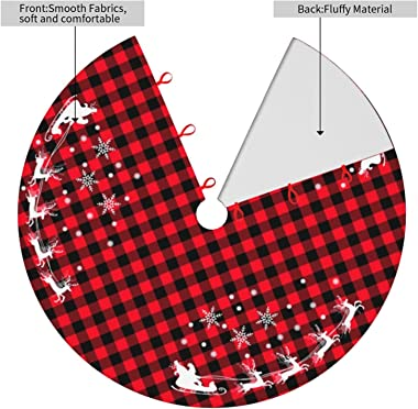 48 Inches Red Black Buffalo Plaid Christmas Tree Skirt Rustic Thick Xmas Tree Skirt with Snowflake Elk and Santa Claus Winter