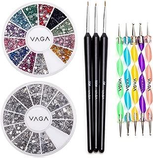 VAGA Nail art supplies acrylic nail kit with 5 Nail dotting tools, nail art brushes 3pc nail brush set, nail gems and rhinestones, A Professional manicure Tool acrilycs nails kit with nail jewels Set