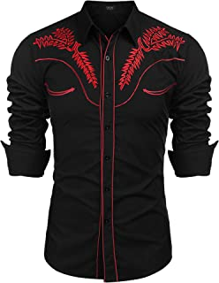 COOFANDY Men's Western Shirts Long Sleeve Slim Fit Embroideres Cowboy Casual Button Down Shirt