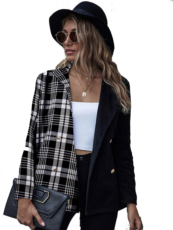 RENJIANFENG Womens famous Two-Color Stitching Plaid Blazer Long Sale item Lapel S