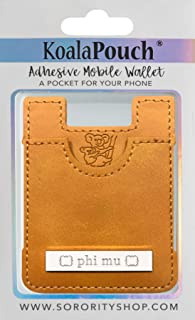 Phi Mu - Leather Style Koala Pouch - Adhesive Mobile Wallet