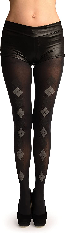 Black With Woven Grey & Dark Grey Diamonds Tights - Pantyhose (Tights)