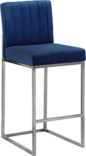 Meridian Furniture Giselle Collection Modern | Contemporary Navy Velvet Upholstered Counter Stool with Polished Chrome Metal Base, 16