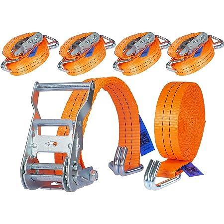 Industrie Planet 4 X 800kg 6m Spanngurt Mit Ratsche Zurrgurte 25mm Orange Ratschengurt Ladungssicherung Auto
