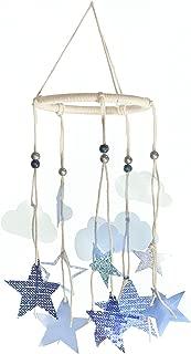 Roser Life Hanging Mobile Art⎮Baby Mobile⎮Sky Mobile⎮Eclectic Decor⎮Handmade Nursery Crib Boy Girl Kids Infant Adult Ceiling Home Outdoor Garden Navy Blue Star Cloud Decorations (Pack of 1)