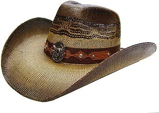 Modestone Unisex Straw Cowboy Hat Metal Bull Skull Concho Studs Brown