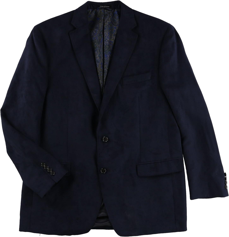 Ralph Lauren Mens Moleskin Two Button Blazer Jacket, Blue, 40 Regular