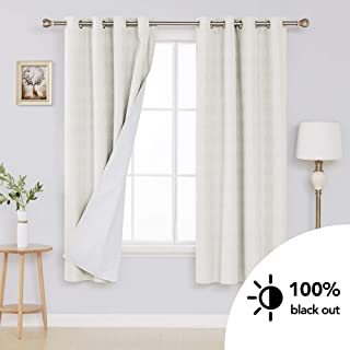 Deconovo White Blackout Curtains with Triple-Pass Coating Back Layer Textured Thermal Insulated Room Darkening Curtains for Bedroom Cream White 52W x 72L Inches 2 Panels