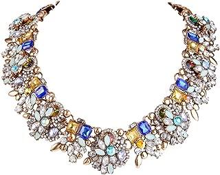 EVER FAITH Vintage Style Art Deco Statement Necklace Austrian Crystal Gold-Tone