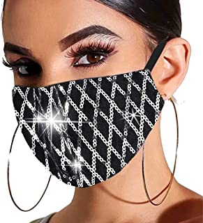 Gortin Sequin Glitter Mouth Cover Masquerade Sparkle Mouth Shield Washable Reusable Mouth Covering with Filter Pocket Nigh...