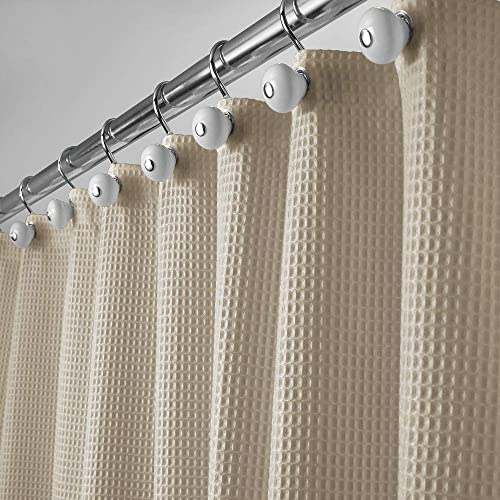 MDesign Hotel Quality Polyester Cotton Blend Fabric Shower Curtain With Waffle Weave And Rustproof Metal