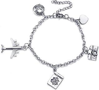 Jovivi Travel Gifts Bracelet Passport Airplane Earth Heart Charm Bracelets Stainless Steel Link Chain for Men Women Touris...